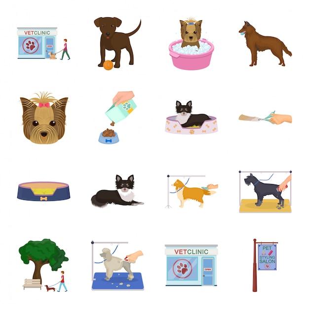 Dibujos animados de perro cuidado establece icono conjunto de dibujos animados de animales icono. cuidado del perro Vector Premium