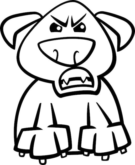 Dibujos Animados De Perro Furioso Para Colorear Vector Premium