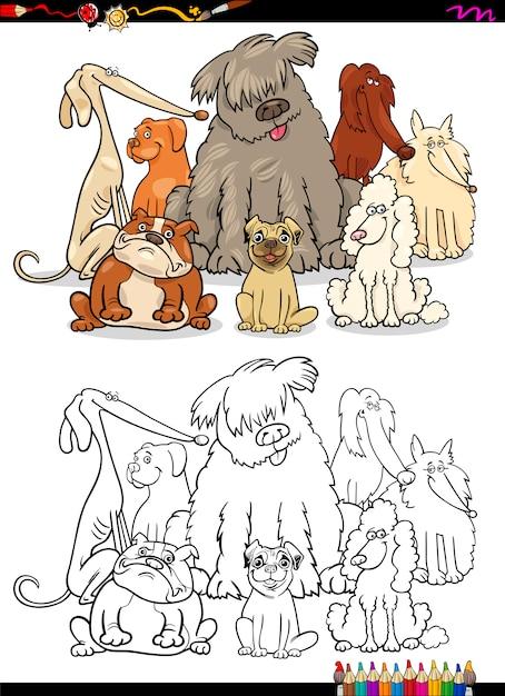 Dibujos animados perros colorear página | Descargar Vectores Premium