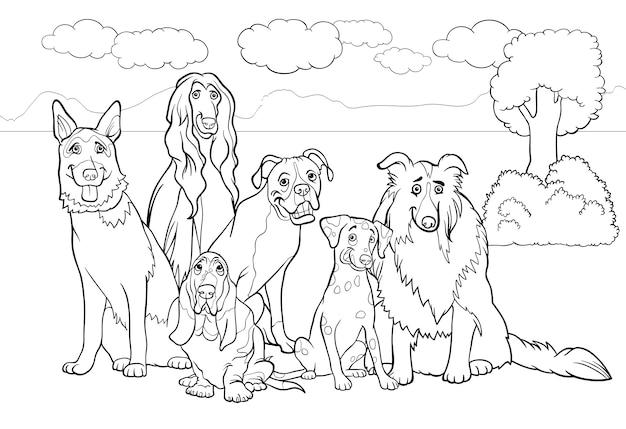 Dibujos Animados De Perros De Pura Raza Para Colorear Libro