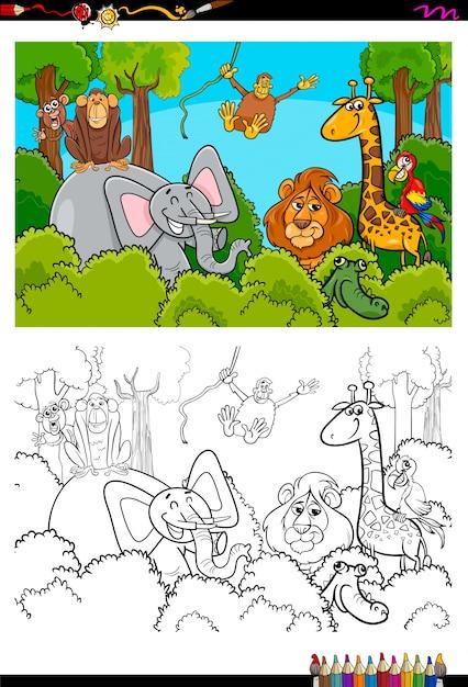 Dibujos Animados De Personajes De Animales Salvajes Para Colorear