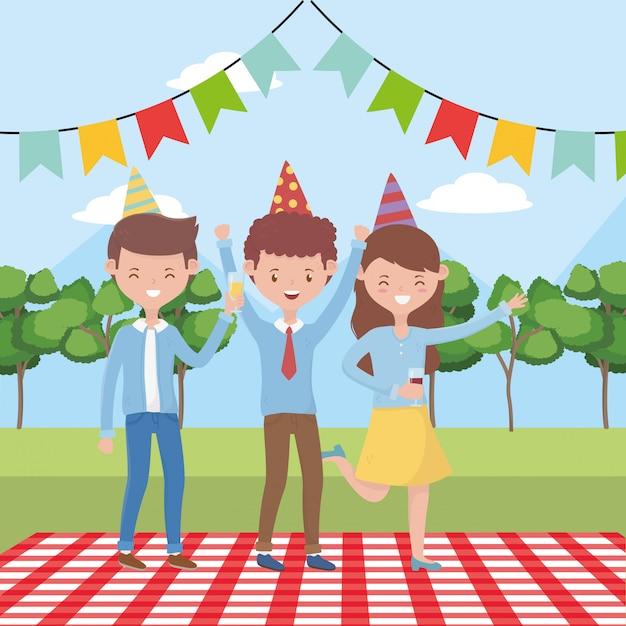 Dibujos animados de personas haciendo picnic Vector Premium