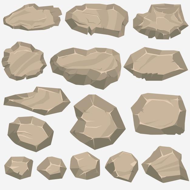 Dibujos animados de piedra de roca en estilo plano. conjunto de diferentes rocas Vector Premium