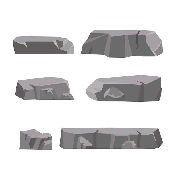 Dibujos animados de piedra de roca. piedras y rocas en estilo plano isométrico 3d. conjunto de diferentes cantos rodados. Vector Premium