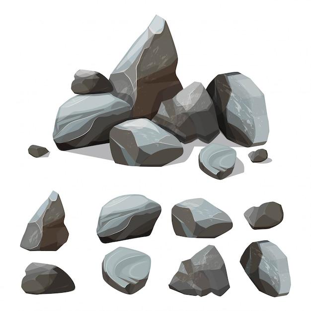Dibujos animados de piedras de montaña. kit de creación de grandes paredes rocosas de gravas y cantos rodados con varias partes de piedras de colores Vector Premium