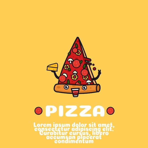 Dibujos animados de pizza lindo Vector Premium