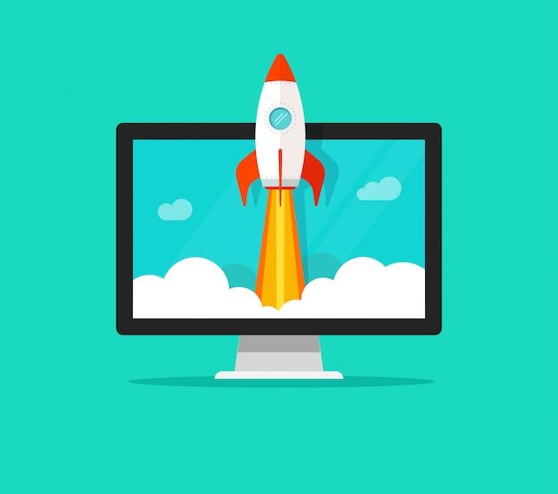 Dibujos animados plana lanzamiento rápido cohete o inicio y computadora o escritorio pc vector ilustración Vector Premium