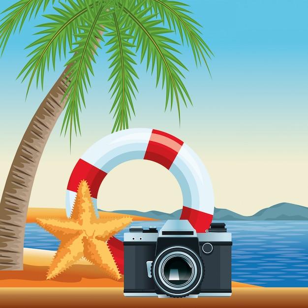 Dibujos animados de playa y vacaciones de verano vector gratuito
