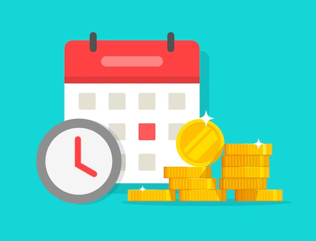 Dibujos animados de plazo de pago de ahorro o préstamo de dinero de tiempo Vector Premium