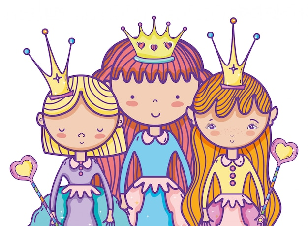 Dibujos Animados De Princesas Mágicas Lindas Vector Premium