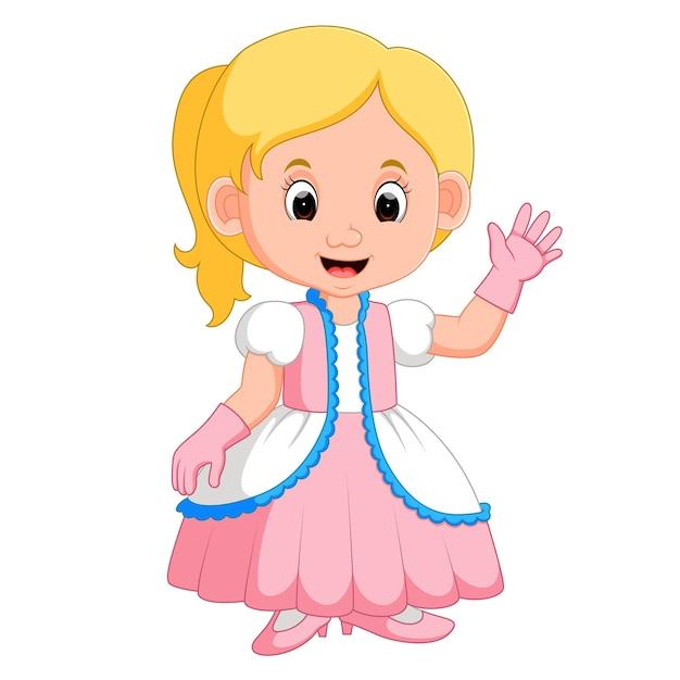 Dibujos Animados De Princesas De Niña Vector Premium