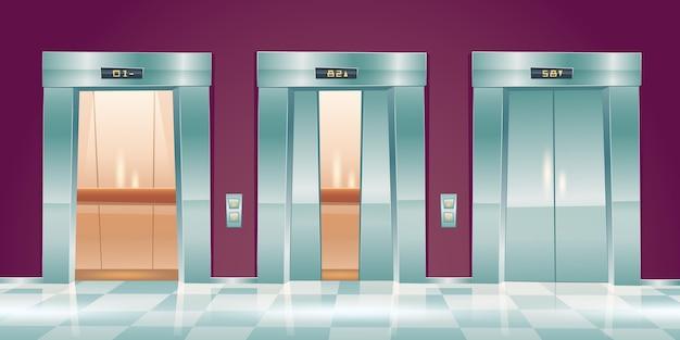 Dibujos animados de puertas de ascensor, ascensores vacíos en el pasillo de la oficina con puertas cerradas, entreabiertas y abiertas. interior del vestíbulo con cabinas de pasajeros o carga, panel de botones e ilustración de indicador de piso vector gratuito
