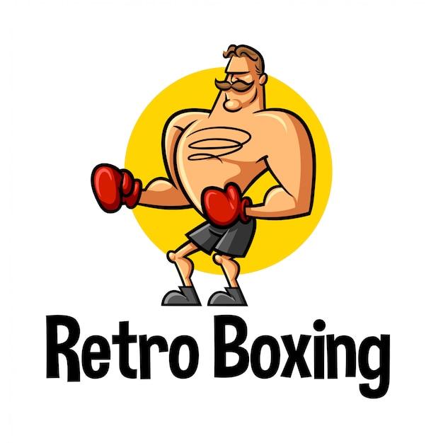 Dibujos animados retro boxer personaje mascota logo Vector Premium