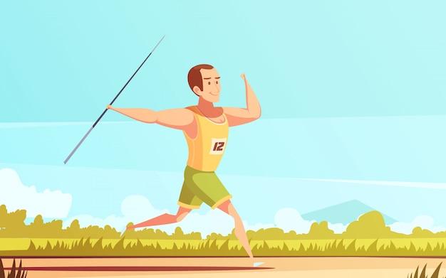 Dibujos animados retro deportista vector gratuito