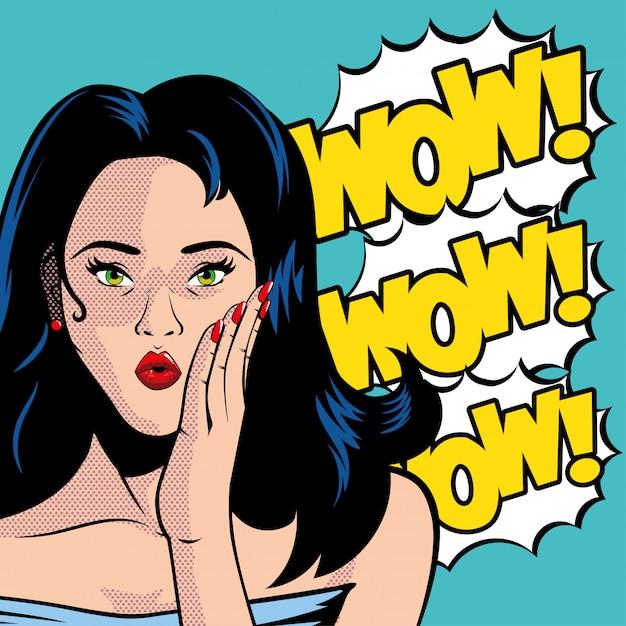 Dibujos animados retro de mujer de cabello negro con gafas y vector de explosión wow Vector Premium
