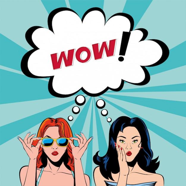 Dibujos animados retro de mujeres de cabello negro y rojo con burbuja wow Vector Premium