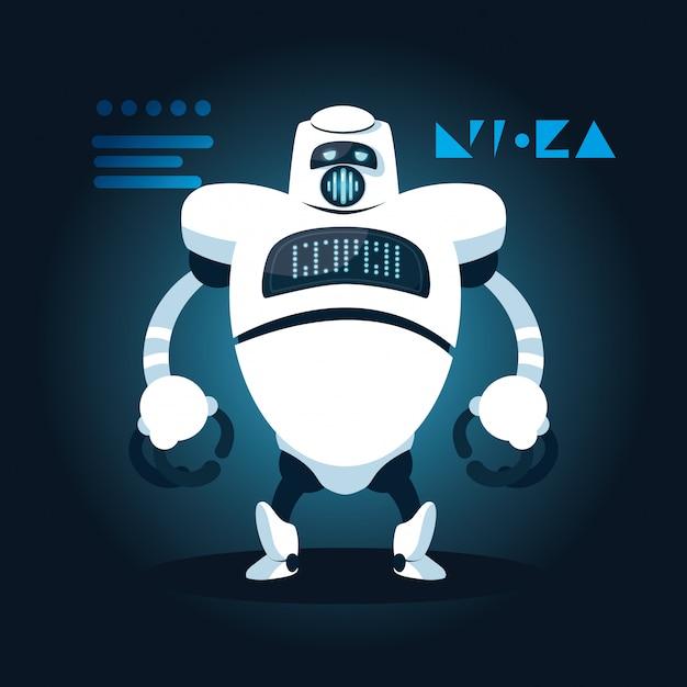 Dibujos animados de robot de tecnología sobre azul Vector Premium