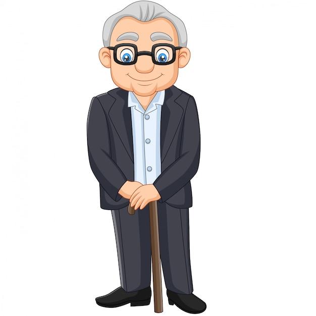Dibujos animados senior anciano anciano Vector Premium