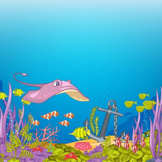 Dibujos animados submarinos del océano Vector Premium