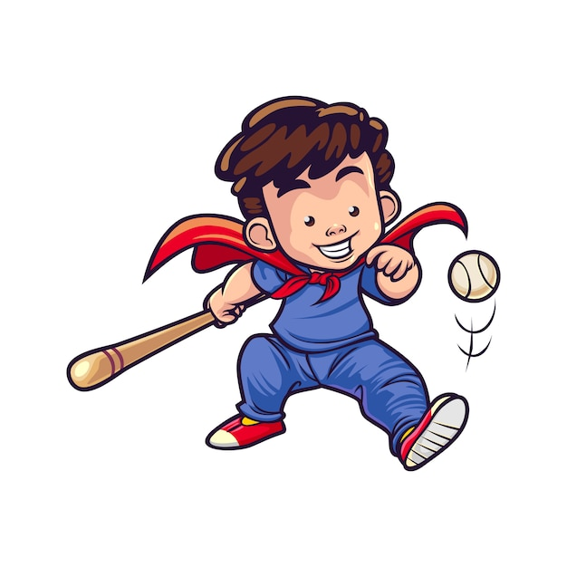 Dibujos animados super baseball boy Vector Premium