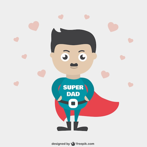 Dibujos animados super papá   Descargar Vectores gratis