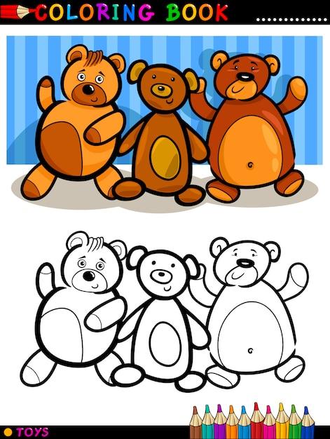 Dibujos Animados De Teddy Bears Para Colorear Vector Premium