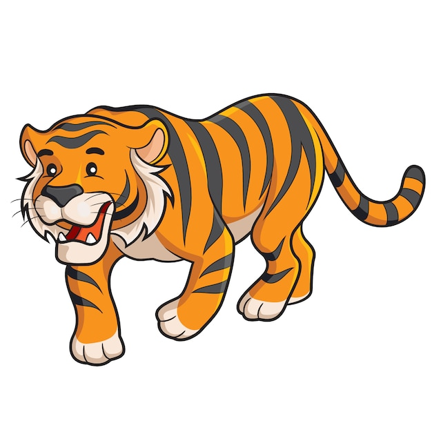 Dibujos Animados De Tigre Vector Premium