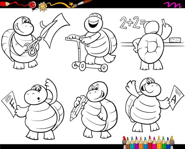 Dibujos Animados De Tortuga Escolar Set Dibujos Para Colorear