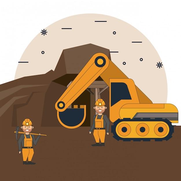 Dibujos Animados De Trabajadores Mineros Vector Premium