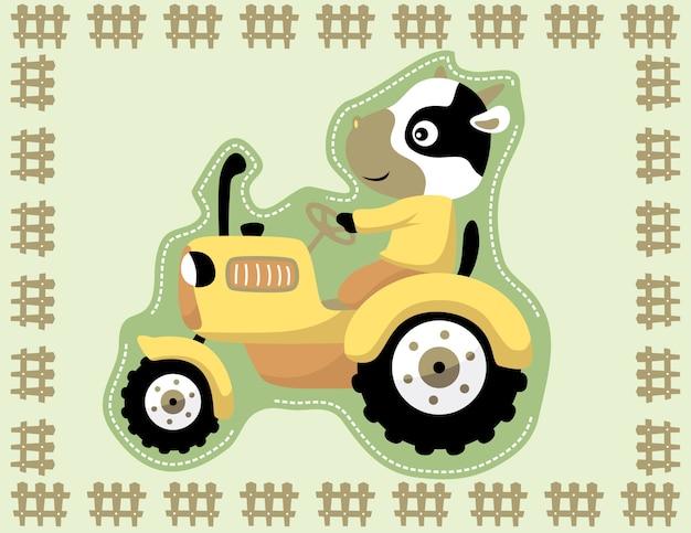 Dibujos animados de tractor amarillo con conductor divertido en el marco de la cerca Vector Premium