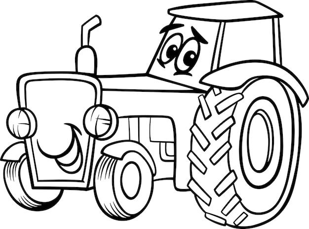 Dibujos Animados De Tractor Para Colorear Libro Vector Premium