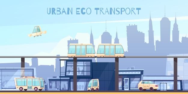 Dibujos animados de transporte ecológico urbano vector gratuito