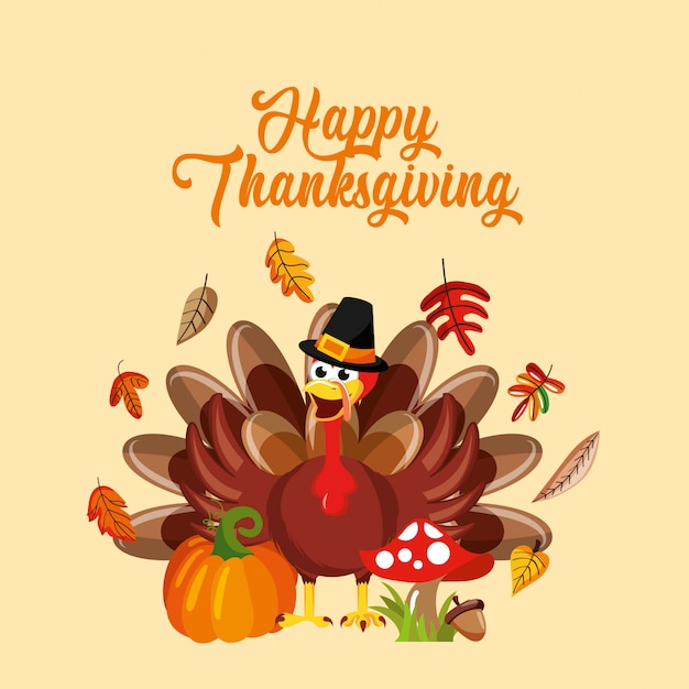 Dibujos animados de turquía con elementos de otoño, tarjeta de acción de gracias Vector Premium