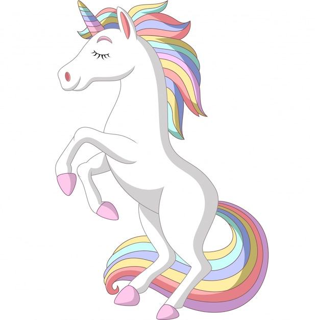 Dibujos animados de unicornio blanco de pie sobre fondo blanco Vector Premium