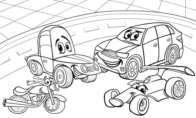 Dibujos Animados De Vehículos Coches Dibujos Para Colorear