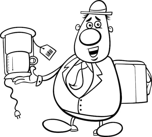 Dibujos animados vendedor para colorear libro | Descargar Vectores ...