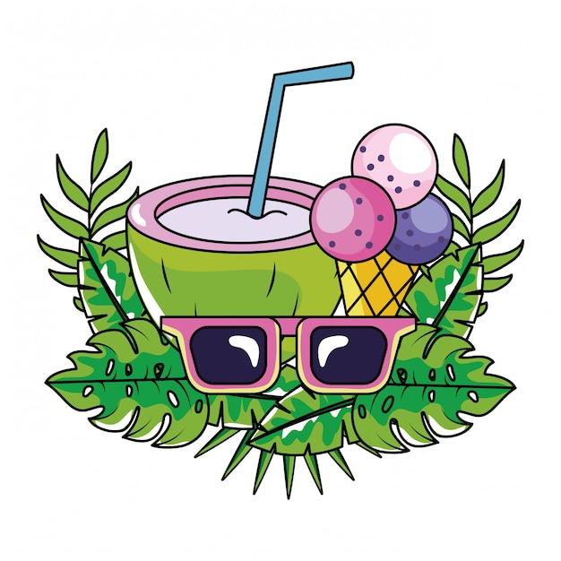 Dibujos animados de verano tropical Vector Premium