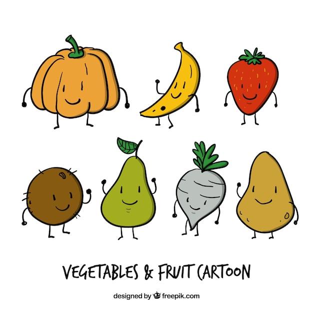 dibujos animados de verduras y frutas divertidas dibujadas a mano