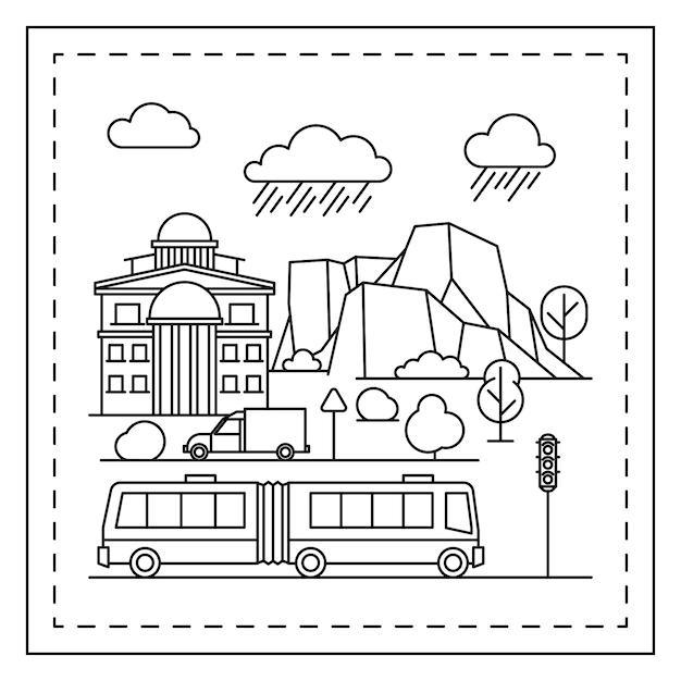 Dibujos Para Colorear De Ciudades Para Niños Vector Premium