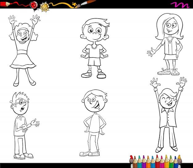 Dibujos Para Colorear De Niños Descargar Vectores Premium