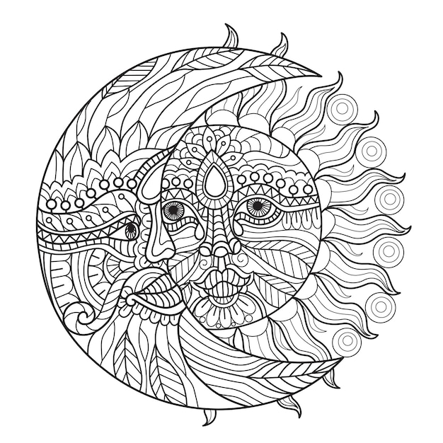 Dibujos para colorear sol y luna para adultos Vector Premium
