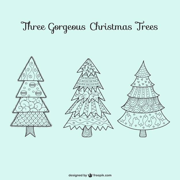 dibujos de rboles de navidad vector gratis