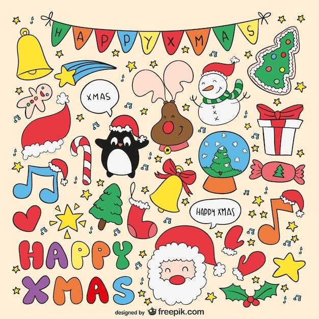 Dibujos de navidad a color descargar vectores gratis - Dibujos de postales de navidad ...