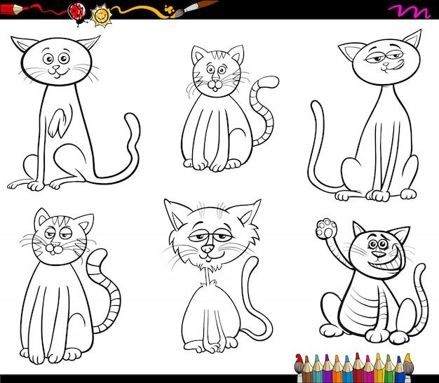 Dibujos De Gatos Para Colorear Descargar Vectores Premium