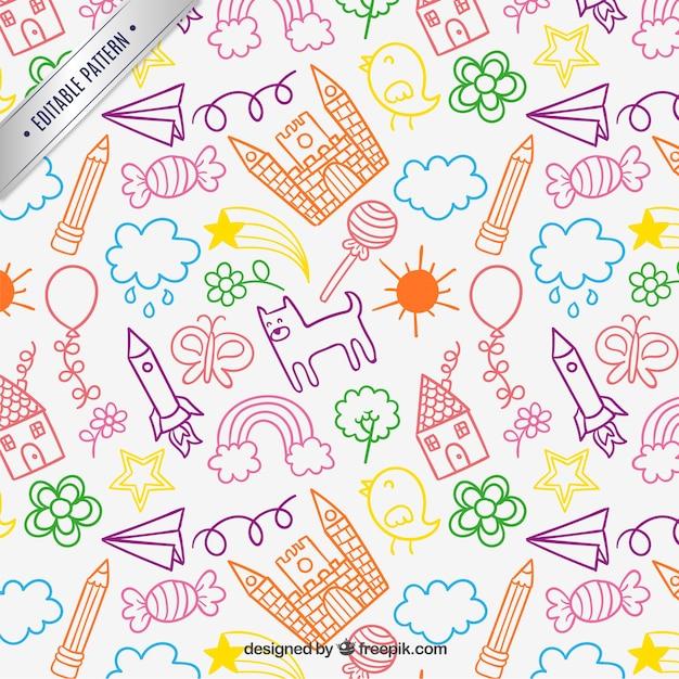 Dibujos infantiles patrón | Descargar Vectores gratis