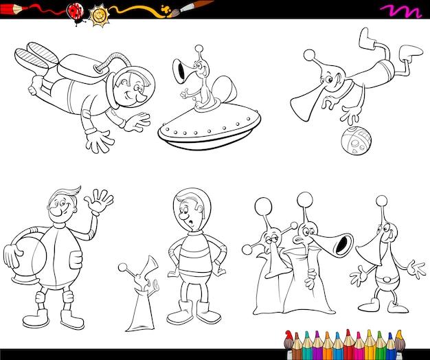 Dibujos para colorear alienígenas | Descargar Vectores Premium
