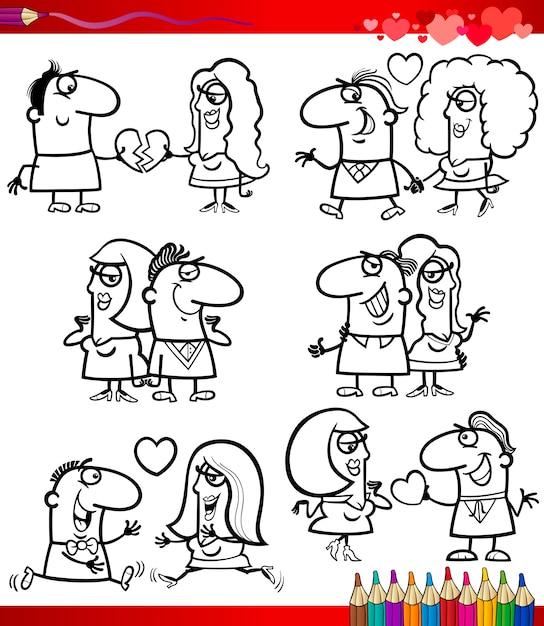 Dibujos De Pareja En Dibujos Animados De Amor Para Colorear
