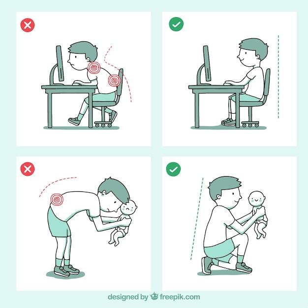 Dibujos Con Posturas Correctas E Incorrectas Vector Gratis