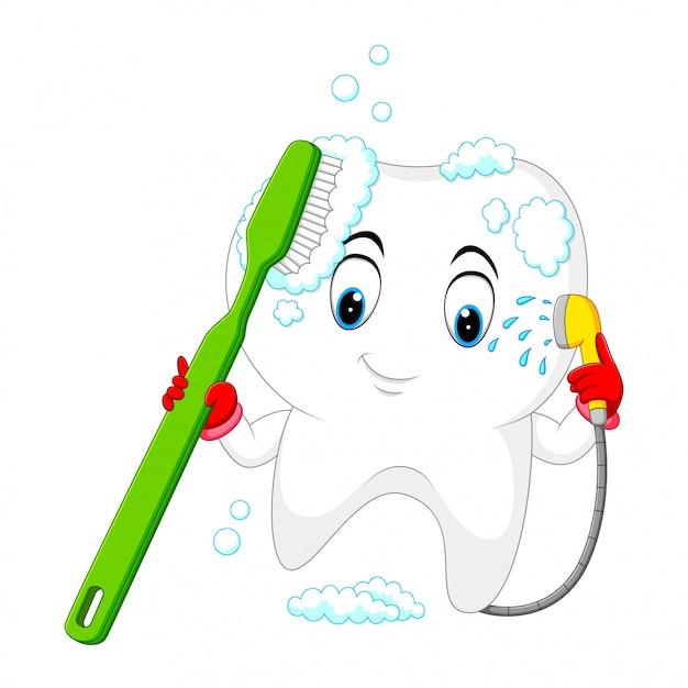 Diente se lava con un cepillo de dientes. Vector Premium