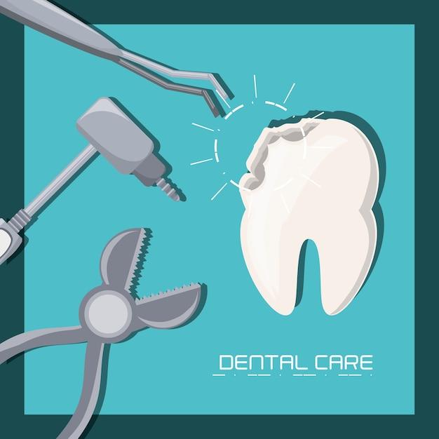 Diente y herramientas de cuidado dental higiene de la salud y médico ...